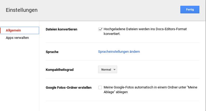 Einstellungsdialog in Google Drive