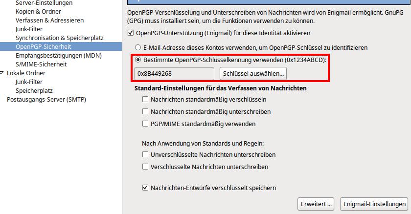 Thunderbird Einstellungen OpenPGP